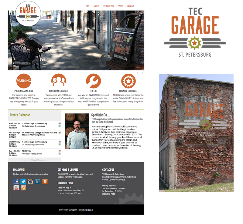 TEC Garage website, Photoshop edit and logo design by Rebecca Hagen