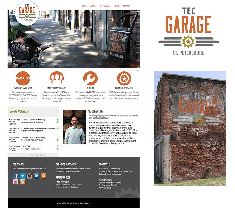TEC Garage website, Photoshop edit and logo design by Rebecca Hagen