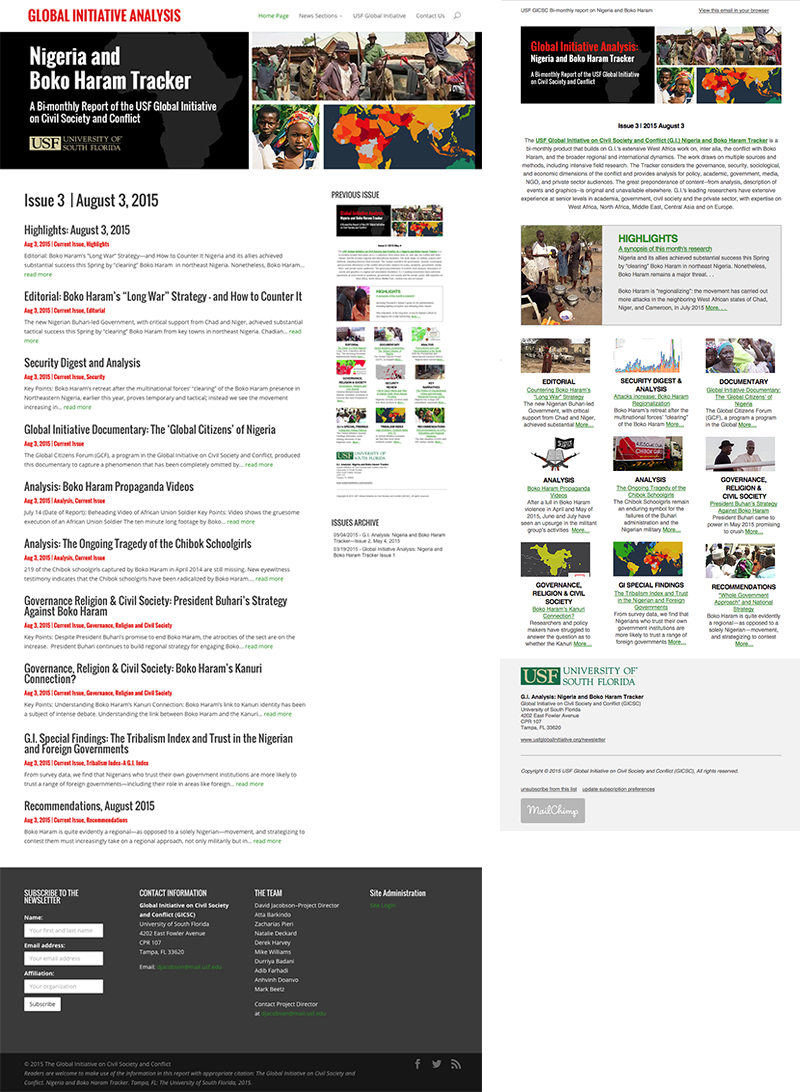 USF GICSC Nigeria and Boko Haram Tracker website and HTML Newsletter. Design and coding by Rebecca Hagen