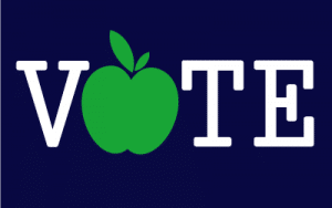 Campaign sign with apple