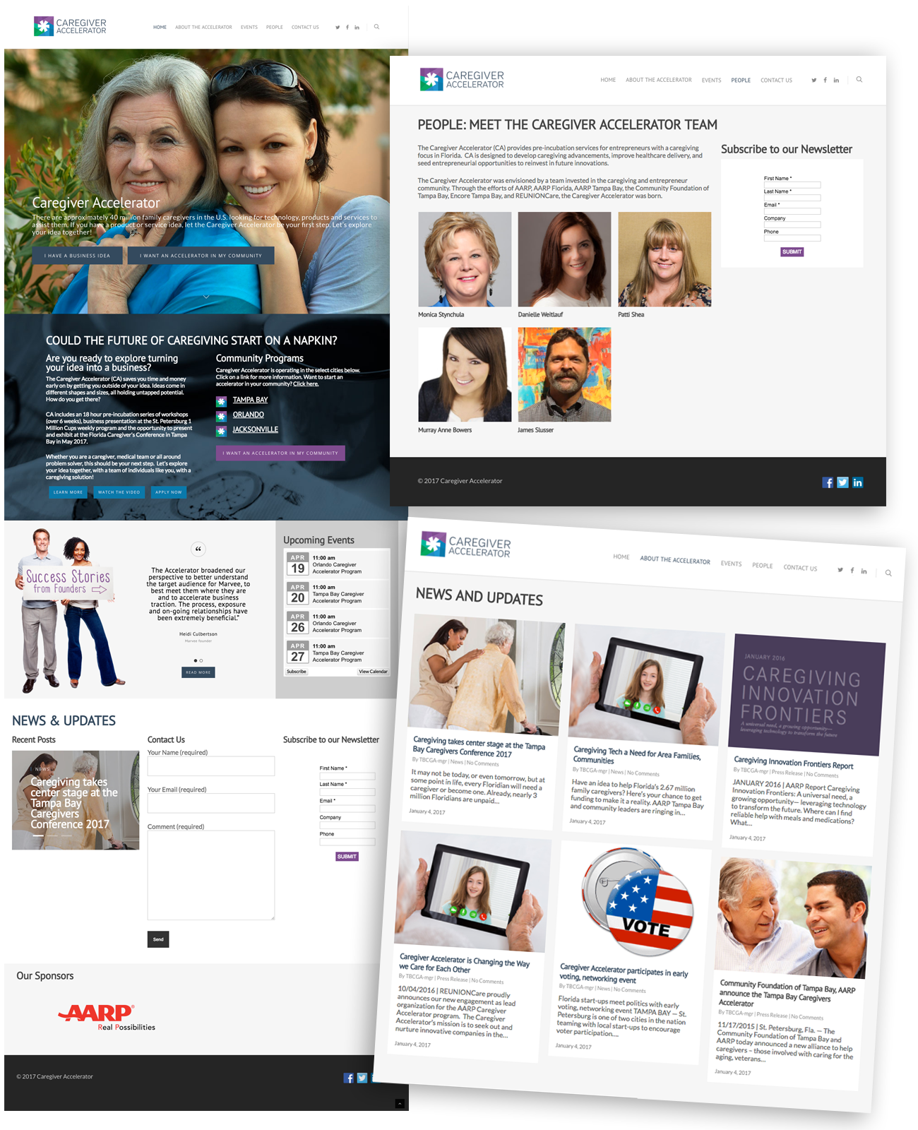 Caregiver Accelerator Web designed by Rebecca Hagen, Sky Lake Studio